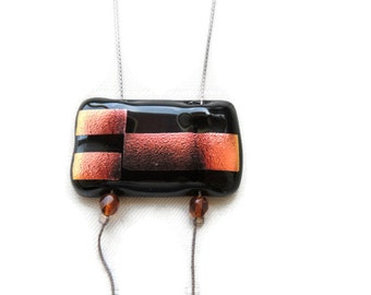Fused glass necklace,copper glass pendant necklace, black and copper dichroic glass necklace,rectangle fused glass necklace,gift for her