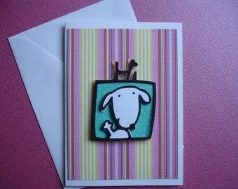 Pup waving Hi !  Blank Card
