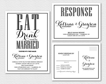 eat drink be married | etsy, Wedding invitations