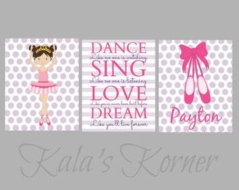 BALLERINA NURSERY ART - girls nursery - Ballerina nursery decor - ballerina playroom - children wall art