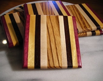 Handmade Exotic Wood Coaster Set ***FREE SHIPPING***