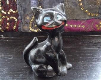 Antique Black Cheshire grinning cat door stop