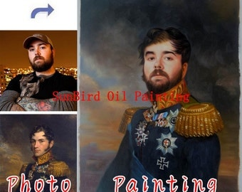 Oil painting-Custom oil portrait painting-Your own master painting-Paint your face on history painting-Family portrait-Pet Portrait and etc
