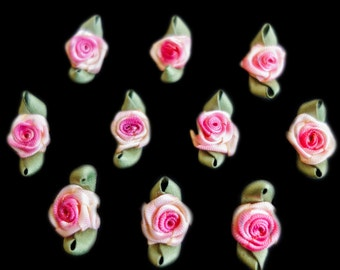 Miniature Variegated Pink shaded Ribbon Rose Buds