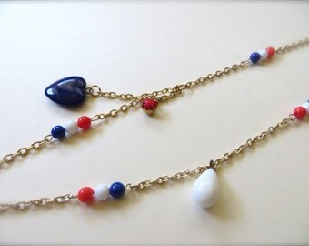 Tricolour Vintage beads Necklace from Japan, Tricolor  Neckrace and Braceret, Red, White and Blue Sailor Jewelry