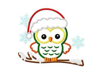 Christmas santa hat owl applique machine embroidery design