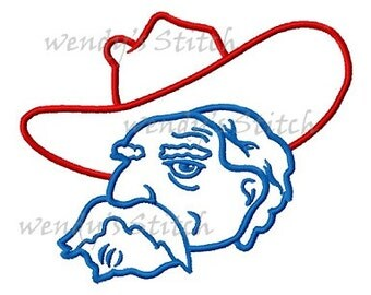 Ole Miss Colonel machine embroidery outline design