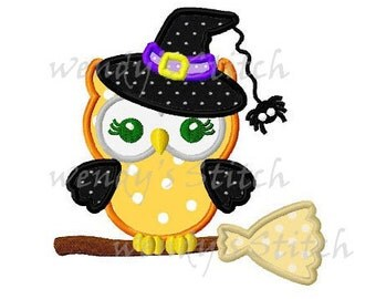 Halloween witch owl on broom applique machine embroidery design