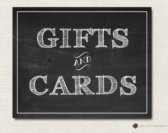 Gifts and Cards Sign - Printable Chalkboard Gifts and Cards Wedding Sign INSTANT DOWNLOAD DIY