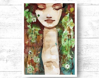 "Giclee Art Print,. Watercolor portrait of a woman ""fp41"" green, brown, nature, wildlife, abstract, portrait, woman,"