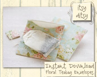 Teabag envelope template in aqua floral design -Printable gift  in duck egg blue- great Mother's Day gift