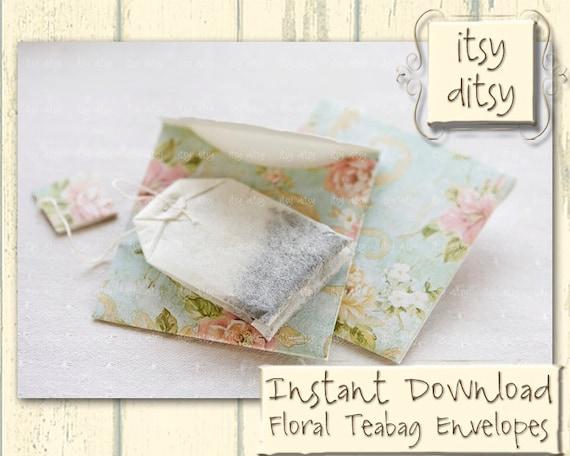 teabag envelope template in aqua floral design printable gift. Black Bedroom Furniture Sets. Home Design Ideas