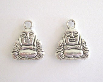 Buddah Charms/Pendants, Double Sided, Silver Color, 3/4 Inch,  2 in a Pack,CLJewelrySupply