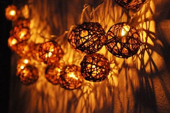 20 Battery Powered dark brown Rattan ball string lights for