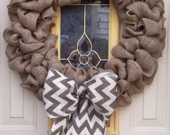 Bubble Burlap wreath with chevron bow