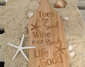 Toes In The Sand Wine Bottle Cutting Board Bamboo, Beach Decor, Wine Decor, Coastal Decor