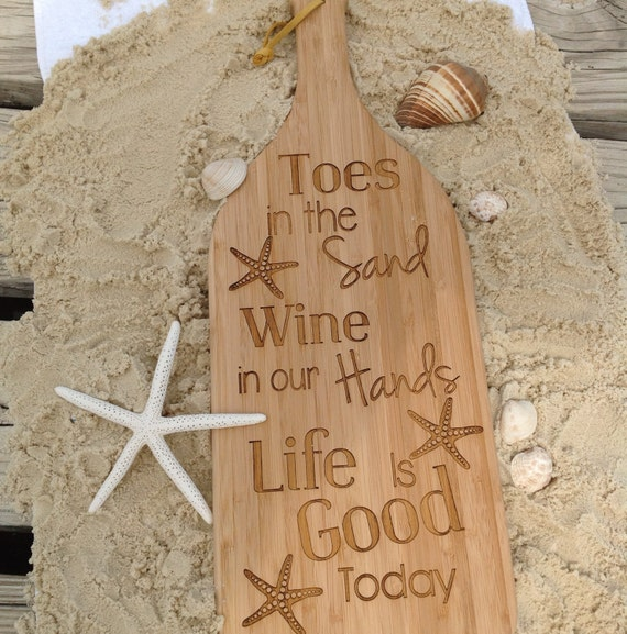 Wine Bottle Cutting Board Toes In The Sand