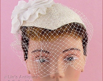 White Wedding Hat With White Netting Veil  (Inventory #HAT248)