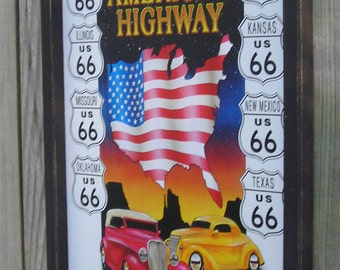 Wood Framed Reproduction Tin Sign, America's Highway Old Route 66, Automobile, American Flag 17 1/4 by 13 1/2 inches., Free Shipping