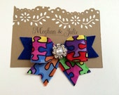 Autism Awareness Hair Bow, autism hair clip, autism accessories, autism puzzle piece bow, blue autism bow, Meghan and Julie
