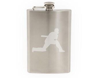 Cricket Player #4 - Batter Batsman Shot Score Wicket- Etched 8 Oz Stainless Steel Flask