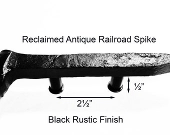 "2 1/2"" Left Black Railroad Spike Cupboard Handle Dresser Drawer Pull Cabinet Knob Antique Vintage Old Rustic Re-purposed House Restoration"