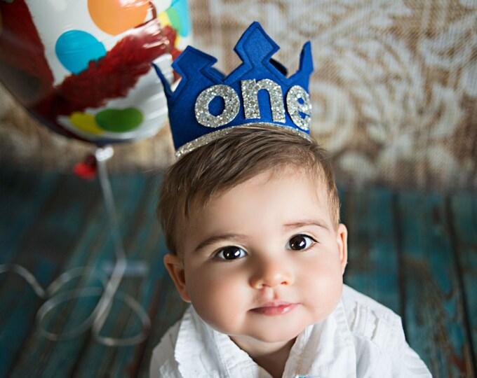 Boys First Birthday Felt Crown | Blue and Silver First Birthday Felt Crown | Boy Birthday Crown