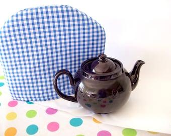 Blue Gingham Tea Cosy , tea cozy