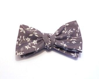 Grey Floral Bow Tie