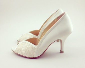 Ivory Lace Wedding Shoes Bridal White