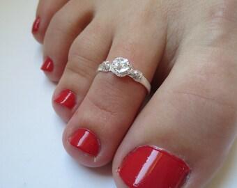 Sterling Silver Adjustable Rose Toe Ring/Midi Ring/Knuckle Ring/925 Sterling Silver/Body Jewelry/Beach Jewelry/Toe Jewelry/Above the Knuckle