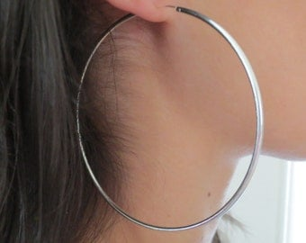 Sterling Silver Large Hoops/Big Tube Hoops/Gypsy Hoops/Large .925 Sterling Silver Continuous Hoop/Endless Hoops/Large Silver Hoop Earrings