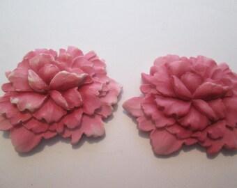Pink flower appliques resin 2 for 5 dollars