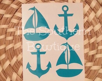 Nautical Sticker Pack | Anchor Stickers | Sailboat Stickers | Decals