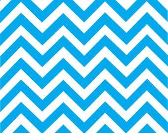Cyan chevron craft  vinyl sheet - HTV or Adhesive Vinyl -  cyan and white large zig zag pattern   HTV109