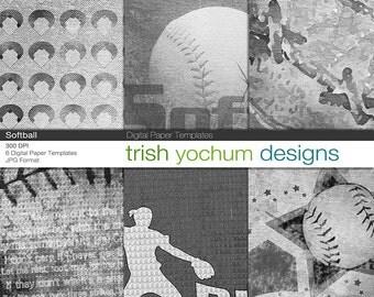Softball Digital Paper Templates - 12x12 300dpi Baseball Sport background textures - Instant Download