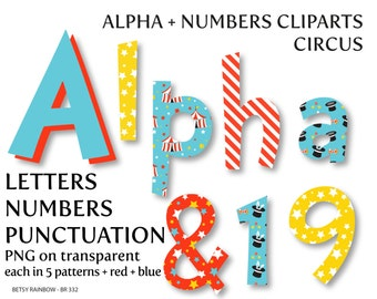 Circus letters and numbers, alpha clipart, circus clipart, alphabet, carnival, circus - BR 332
