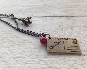 Necklace vintage style with postcard and Eiffel Tower