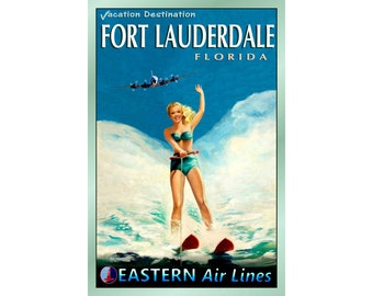 """FORT LAUDERDALE Florida - EASTERN Air Lines Travel Poster - 3 sizes up to 24""""x 36"""" - Retro Beach Pin Up Art Print 052"""