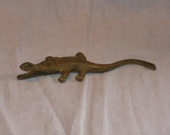 Vintage brass alligator crocodile brass figurine