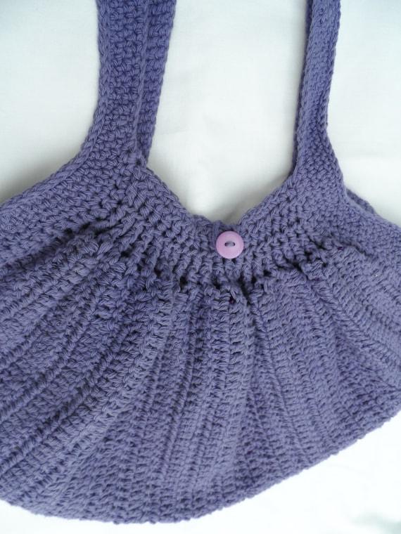 Crochet Bag Bottom : Crochet fat bottom bag, crocheted shoulder bag, purple bag, summer bag ...