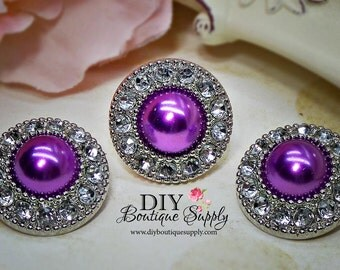 5 Pcs Grape PURPLE Pearl Rhinestone Buttons Plastic Acrylic Pearl Buttons Embellishments Clear Rhinestone Flower Centers  25mm 456035