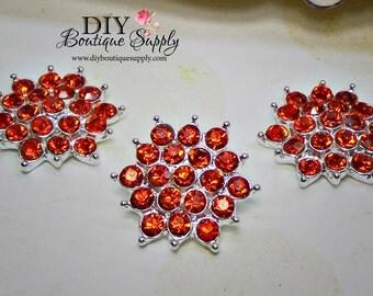 ORANGE Crystal Button Flat Back Halloween Embellishment Rhinestone Flatbacks - Headband Supplies flower centers Scrapbooking 21mm 625038