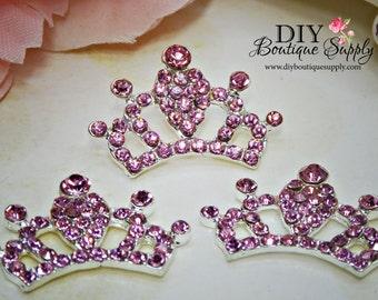 Super Bright Pink Crystal Rhinestone Crown Flatback Flat Back Princess Embellishment Baby Headbands Supplies flower centers 30mm 663053