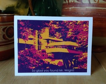Funny Engagement Card Architecture Frank Lloyd Wright Fallingwater graphic illustration