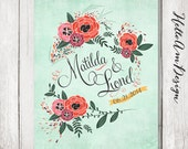 Mint wedding - Botanical wedding - mint pink wedding - Personalized wedding poster - wedding book alternative- wedding guestbook alternative