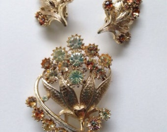 Vintage Coro brooch and earrings,  floral gold toned pin with rhinestones, Coro Demi Purure, amber colored stones