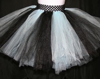 Light Blue and Black Tutu Skirts, Children's Tutu Skirts,  Blue and Black Newborn to 6T Tutus, Light Blue and Black Tutu