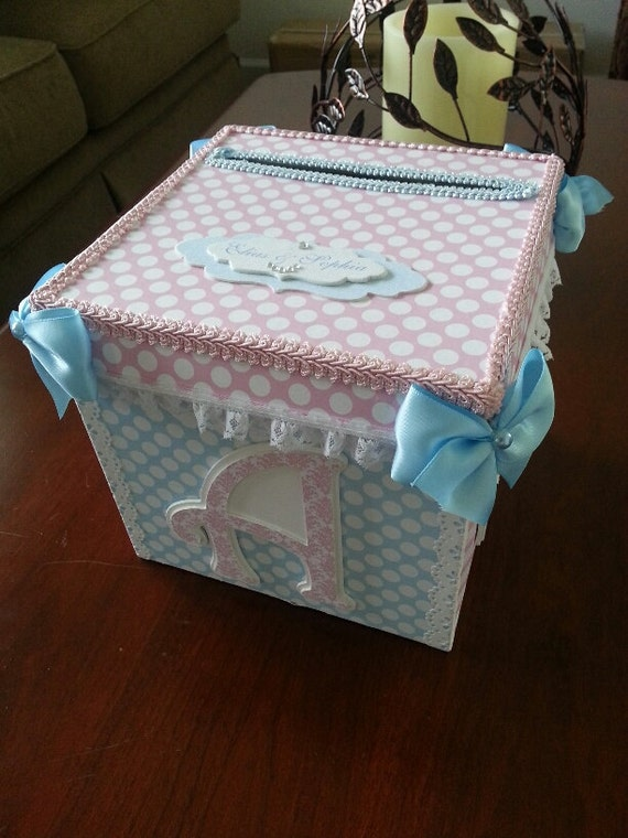 Gift Box Baby Shower Invitations : Pink and blue gift card box baby shower
