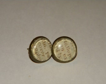 12mm round bezel earrings with glass top, printed words